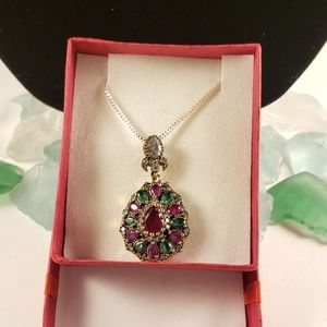 Jewelry - Gorgeous New Emerald & Ruby Gold & Silver Necklace